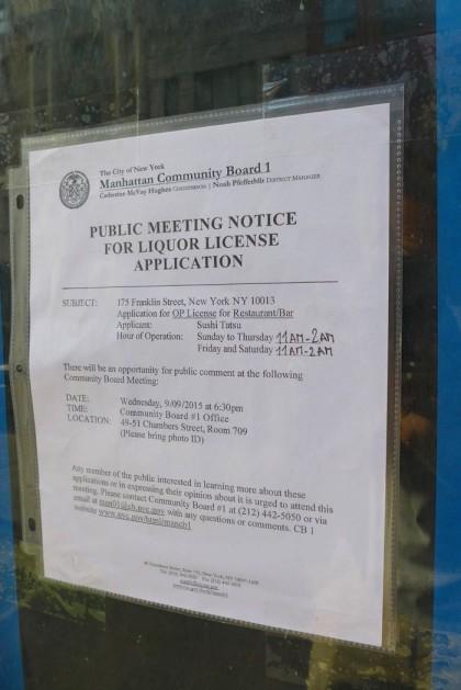Sushi Tatsu public notice 175 Franklin
