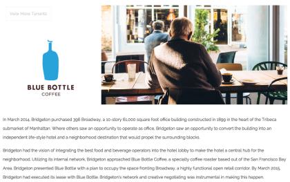 Bridgeton Blue Bottle website page