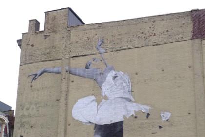 JR mural disintegrating