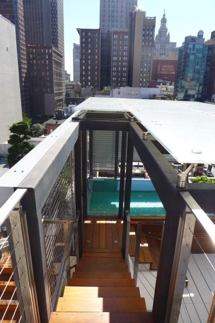 Loft Peeping Duane Penthouse roof deck stairs