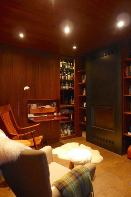 Loft Tour Laight penthouse mancave with Bourbon bar