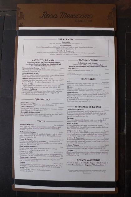 Rosa Mexicano Tribeca menu