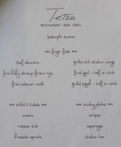 Tetsu a la carte menu1