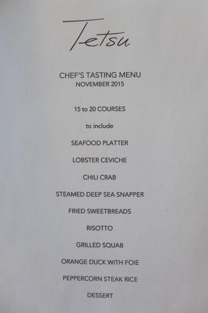 Tetsu sample tasting menu