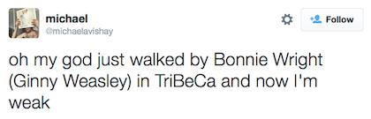 tweet Bonnie Wright