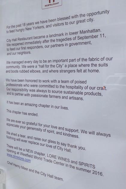 City Hall farewell letter