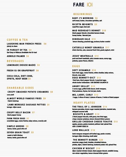The Bennett brunch menu