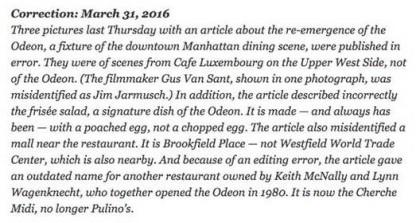 NYT Odeon correction