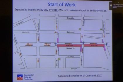 Worth Street Reconstruction slide3 at CB1 April2016