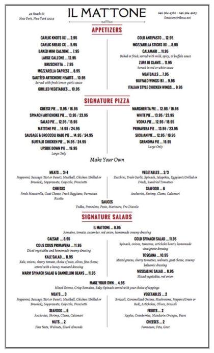 Il Mattone menu page1