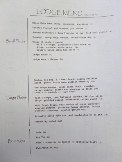 The Lodge menu
