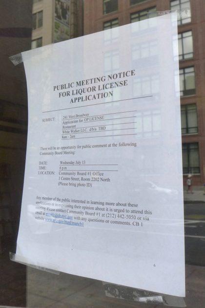 241 WBroadway liquor license notice