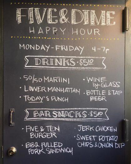 Bubbys happy hour menu