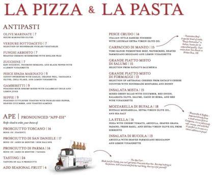 Eataly La Pizza and La pasta menu1