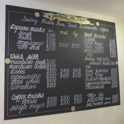Galerie de Cafe menu