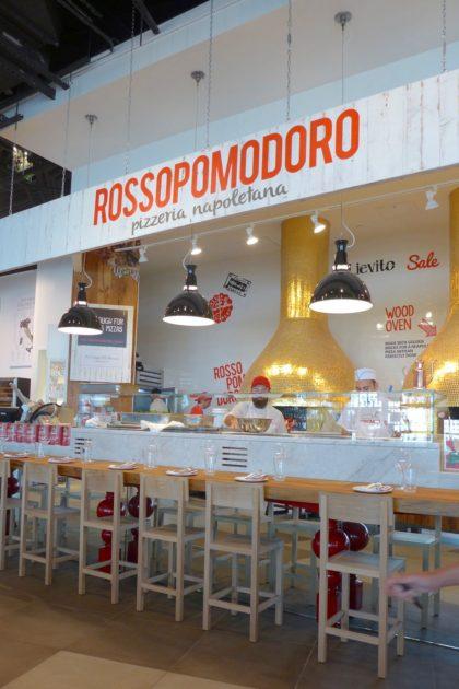 Rossopomodoro pizza counter at La Pizza and La Pasta at Eataly Downtown