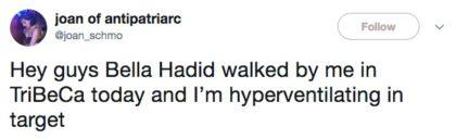 Bella Hadid tweet