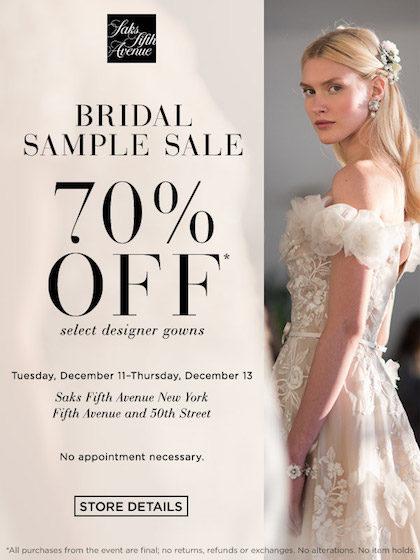 Tribeca Citizen Saks Bridal Sample Sale 70 Off Select Designer Gowns